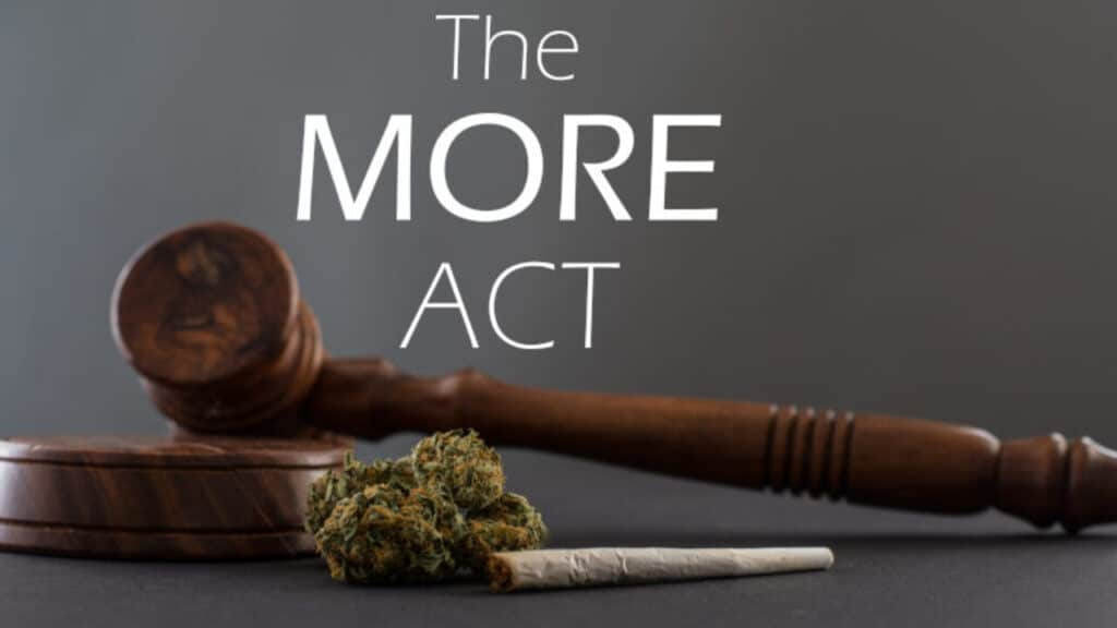 Cannabis, joint and gavel grey background